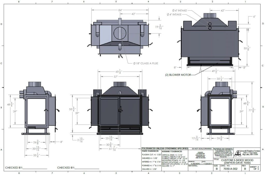 Custom Wood Fireplace Blueprint Drawings by Acucraft
