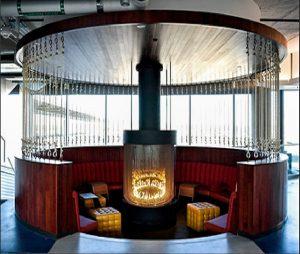 circular gas fireplace in sunken lounge