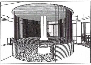 circular gas fireplace rendering drawing