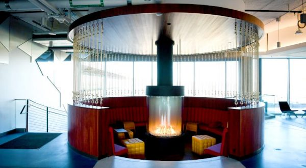 circular gas fireplace at Google headquarters in sunken lounge