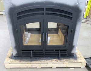 see through wood burning fireplace in production