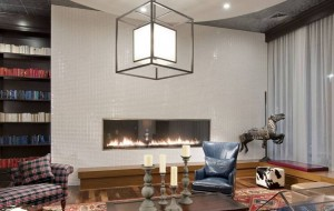 Custom Linear Gas Fireplace in Halstead Square Gathering Room