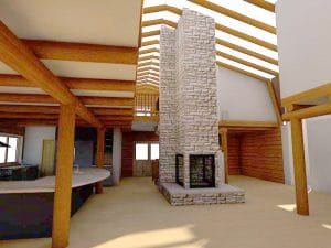 Custom Wood Fireplace Designed for Heat