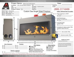 acucraft provided fireplace design spec sheet