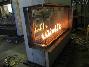Acucraft Custom Gas 3-Sided Corner See Through Fireplace