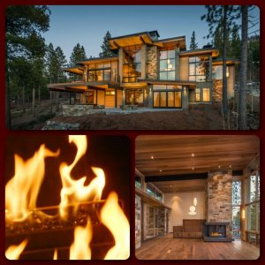 3 sided custom gas fireplace in lake tahoe home