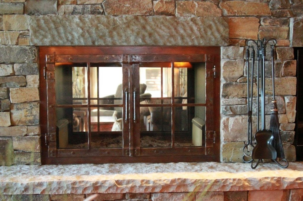 See through rectangular wood fireplace