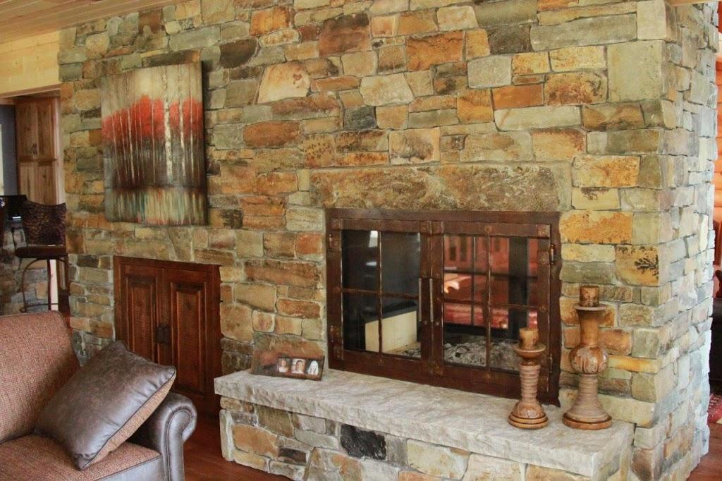 wood burning fireplace see through