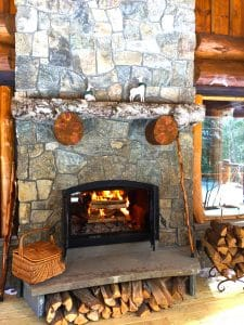 see through indoor outdoor wood burning fireplace