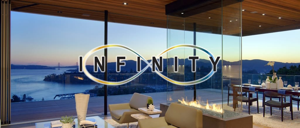 infinity four sided gas fireplace overlooking san francisco bay