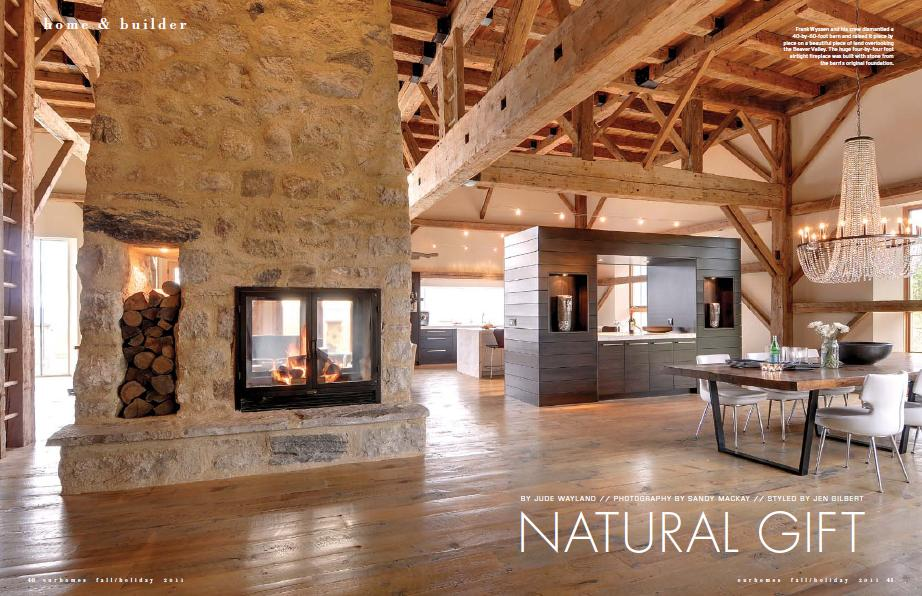 wood burning fireplace see through - home & builder magazine clip