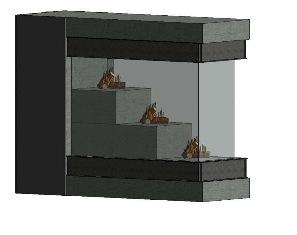 peninsula gas fireplace rendering
