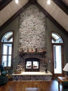 indoor outdoor see through wood fireplace