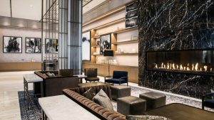 linear gas fireplace in nashville marriott hotel lobby