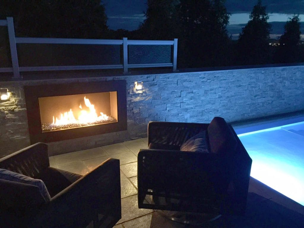 Outdoor Custom Gas Fireplace by Acucraft
