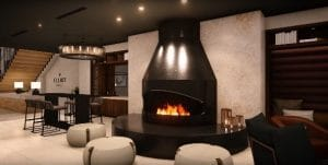 oval open gas fireplace in hotel lobby