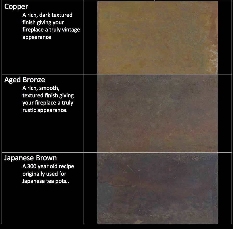 acucraft patina fireplace finishes
