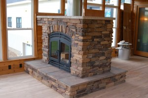 See-Through Wood Indoor Fireplace Exposed Flue