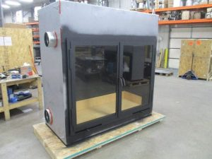 custom wood burning fireplace in production