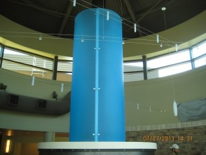 Blue flue of custom fireplace