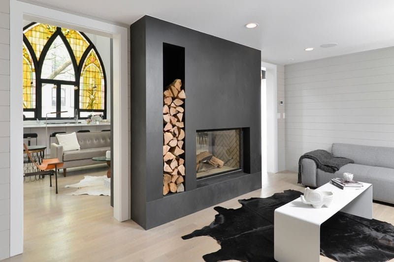 built in wood storage around your fireplace