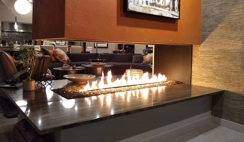 custom built gas fireplace