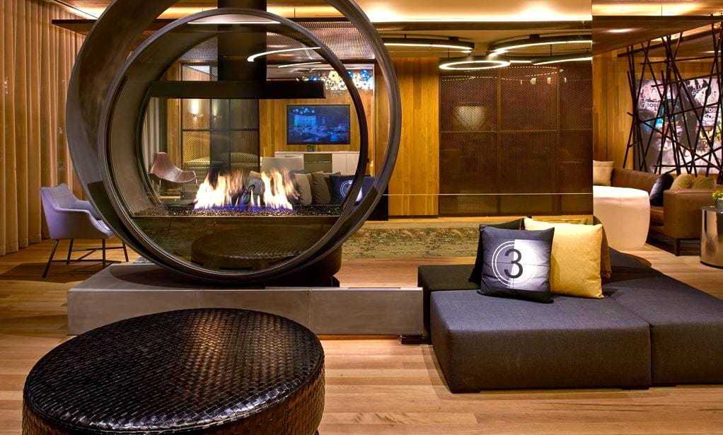 commercial custom gas fireplace circle