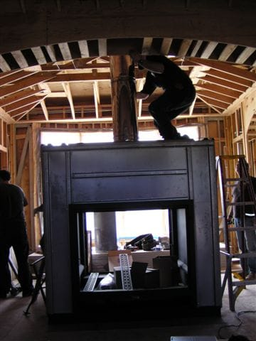Large Wood Fireplace Install