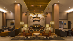 two linear stacked gas fireplace at grand hyatt bar