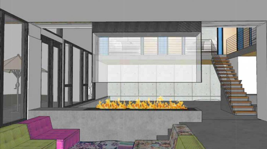 customer provided rendering of sunken lounge custom four sided open gas fire pit