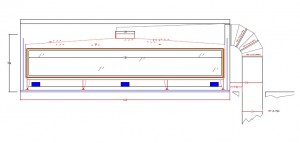 Drawing of Downward vented 16' wide fireplace