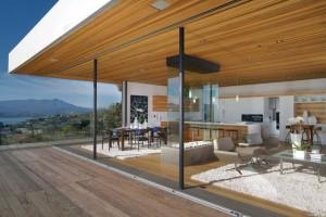 four sided glass fireplace in modern livingroom