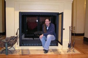 Custom See-Through Large Wood Fireplace with Decorative Vents by Acucraft