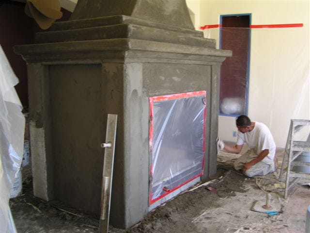 Large Fireplace Faux Concrete Install