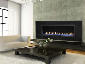 Modern Open Gas Fireplace