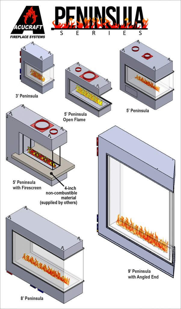 acucraft standard peninsula gas fireplace series