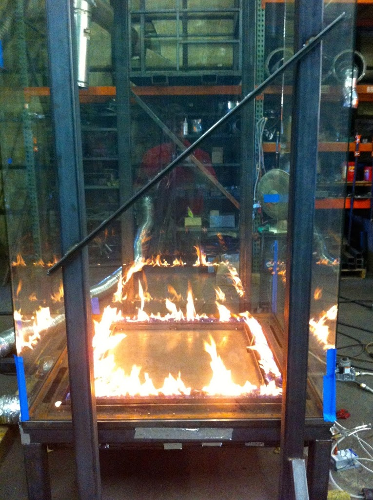 Tall Glass Fireplace Test Burn