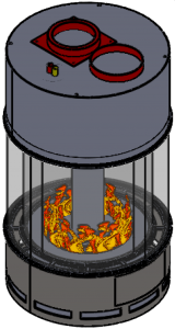 acucraft cad rendering of circular gas fireplace