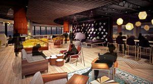 3 sided peninsula gas fireplace rendering of lounge renovation