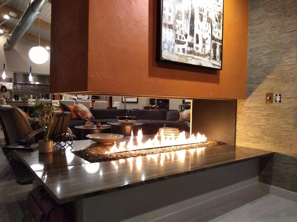 modern peninsula fireplace
