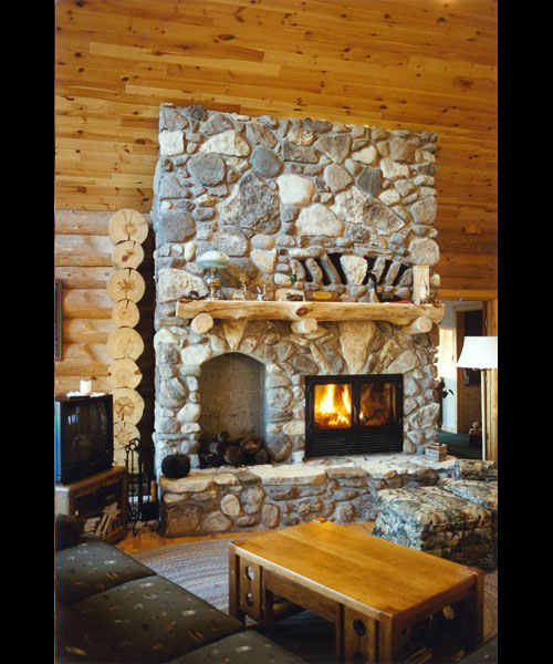 single sided wood fireplace with masonry surround