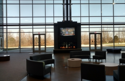 commercial custom 3 sided gas fireplace