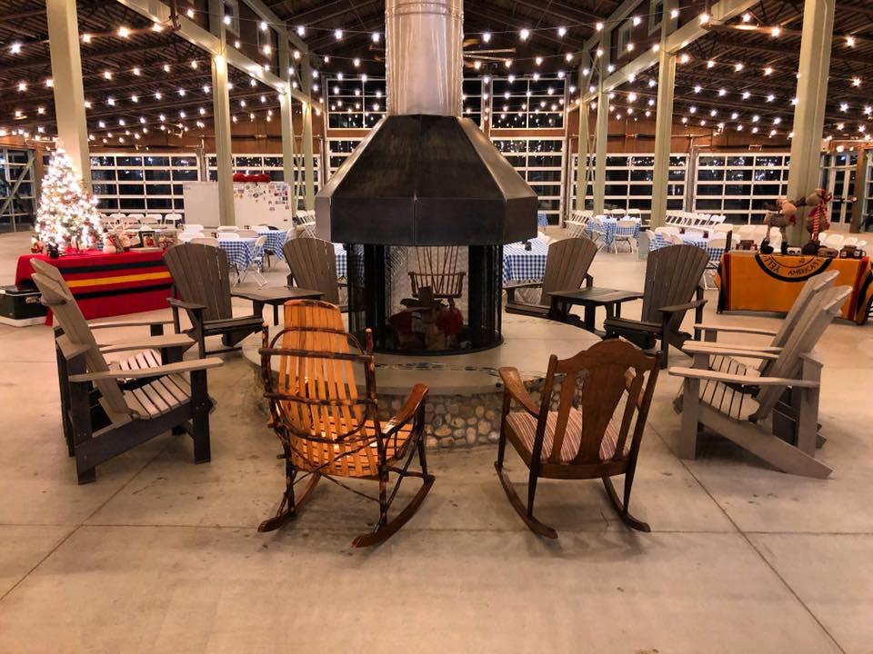outdoor custom wood fireplace