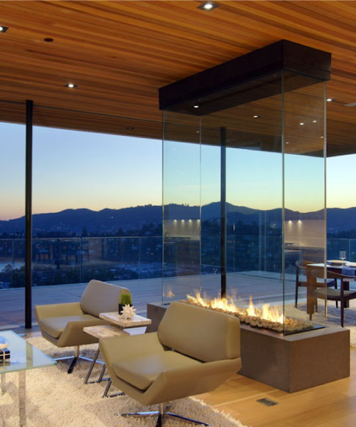 four sided gas fireplace in san francisco luxury home