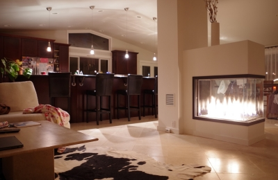 3 sided see through fireplace in modern home