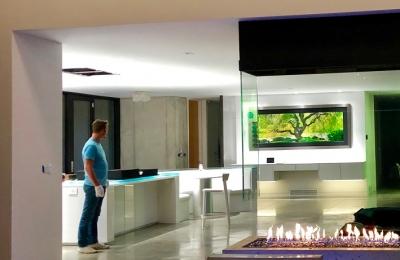 open gas fireplace in modern home