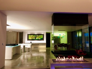 open 4-sided gas fireplace in modern residence