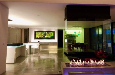open 4-sided gas fireplace in modern residence