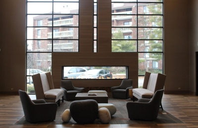 double sided gas fireplace in lobby