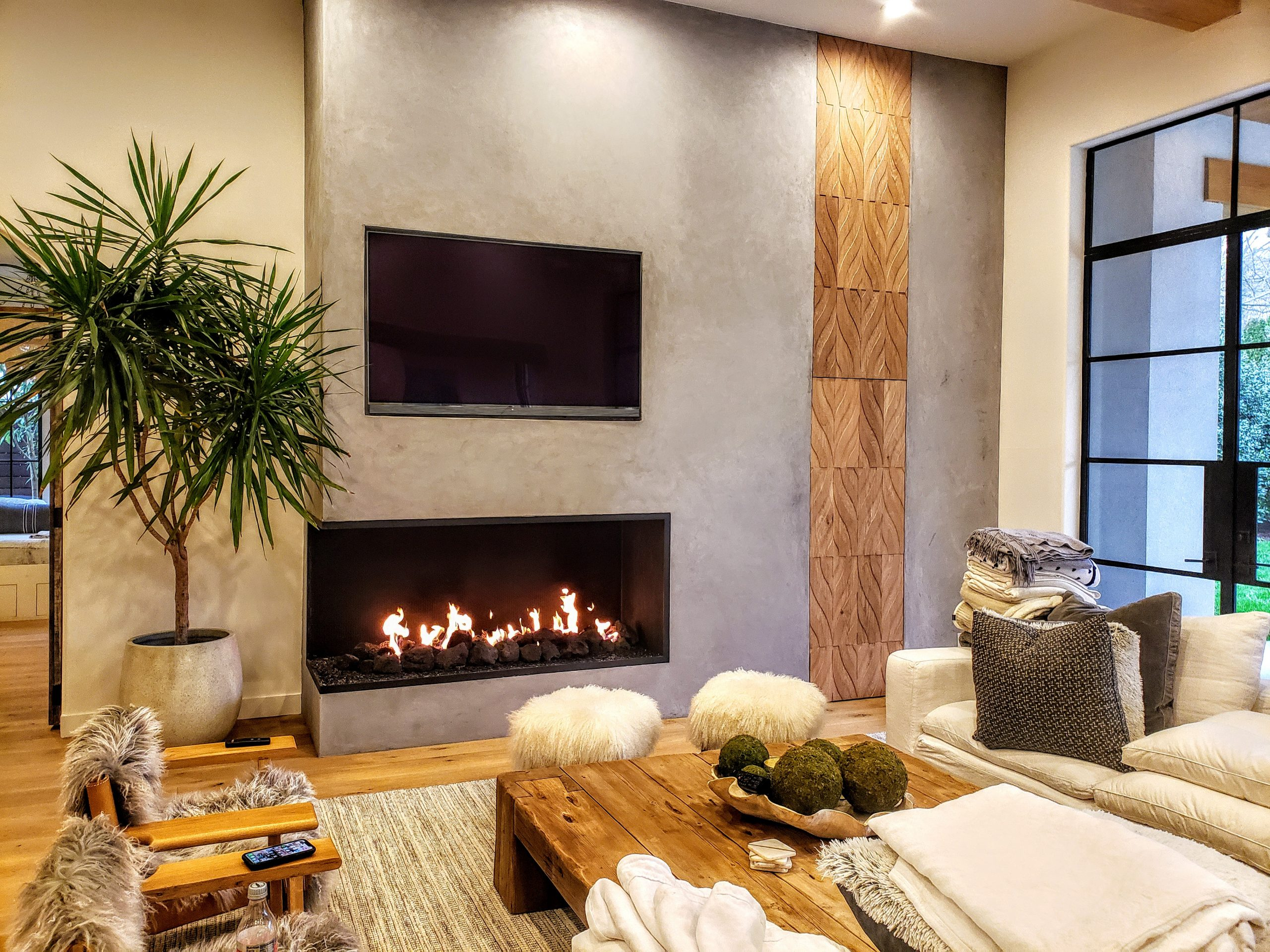 Acucraft Custom Linear Open Gas Fireplace with Left Viewing Area Glass Media & XL Lava Rocks (2)